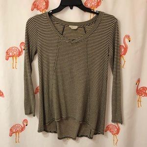 Black & Tan Long Sleeve Flowy, Ribbed Shirt